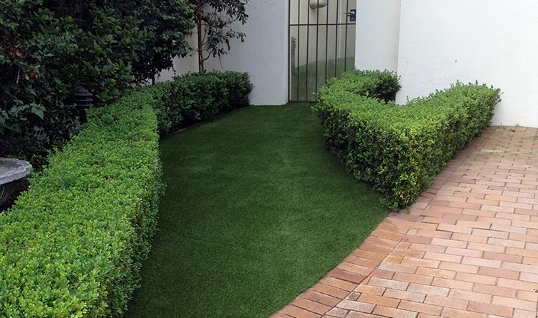 Walkway covered with synthetic grass